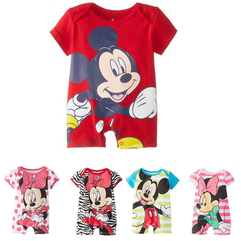 2019 Letnie Dziewczynki Śliczne Pajacyki Noworodków na 0-24 M Zestaw odzieży z krótkim rękawem Cartoon Mickey Boys Baby niemowlęce Kombinezony