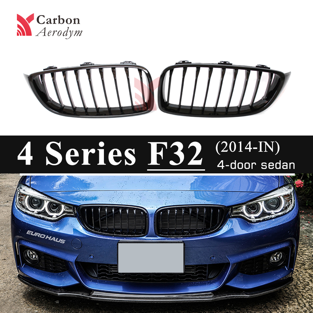 Front Grill For BMW 4 Series F32 F33 F36 F80(M3) F82(M4) F83(M4) Kidney Racing Grills 1 Lines Gloss Black Grille