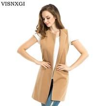 Coat Women Vest Jacket Long Outwear Wool Autumn Fashion Casual Sleeveless Brand S229