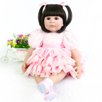 60cm Silicone Reborn Girl Baby Doll Toys Vinyl Pink Princess Toddler Babies Dolls bebe rebor Birthday Gift Limited Edition Doll