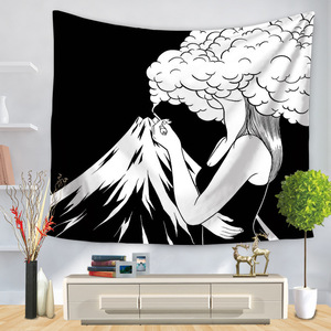 Image 5 - Pop Art Black White Creative Tapestry Polyester Rectangular Living Room Bedroom Home Decor Background Decoration Wall Hanging