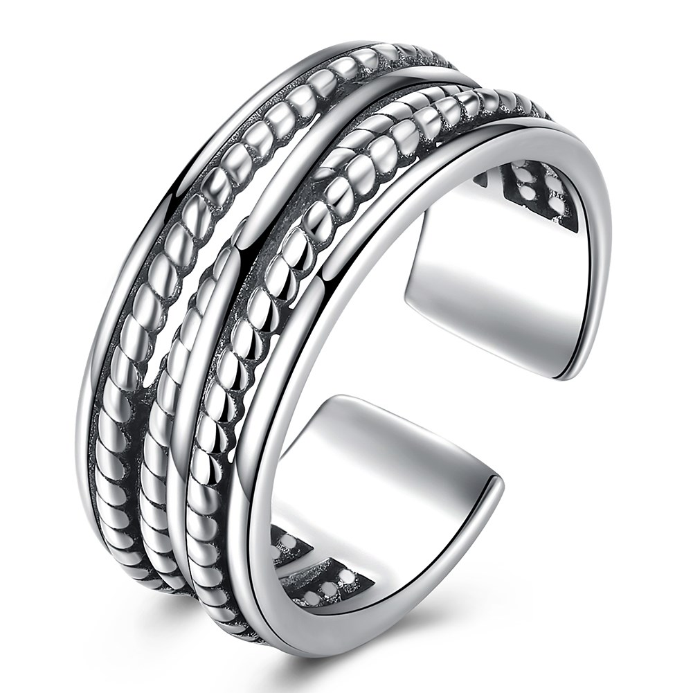 Hemiston Luxury Antique 100% 925 Sterling Silver Vintage Wider Hollowing Rings Resizable for Women Jewelry PTER002