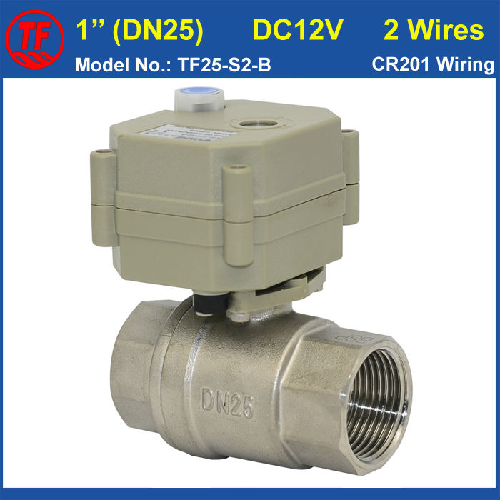 DC12V 2 Wires 1 (DN25) Full Port Stainless Steel Electric Ball Valve With Manual Override Metal Gear BSP/NPT Thread CE/IP67