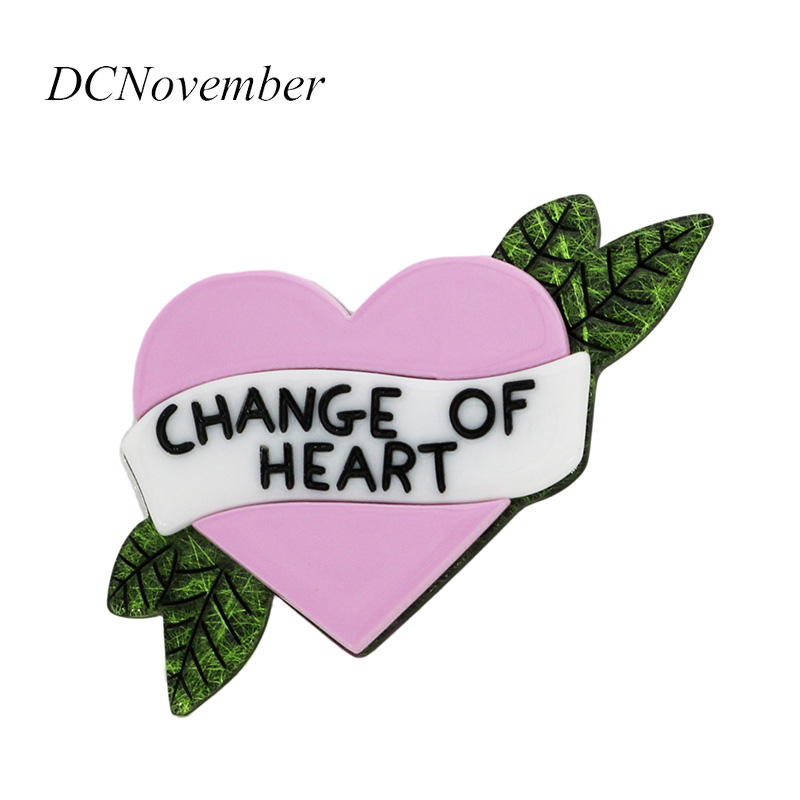 Love Brooches Change Of Heart Brooch Pin Resin Acrylic Brooches Pins Fashion Dress Accessory Jewelry DCNovember