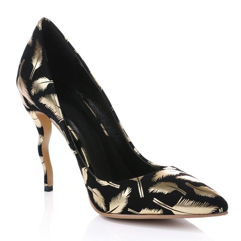 Soirée D'or Escarpins De En 2019 34 Chaussures Talons Femmes Feuilles 41 Bout Mode Avec Flexion Talon Noir Date Imprimé Printemps Cuir Hauts Pointu qaFnX