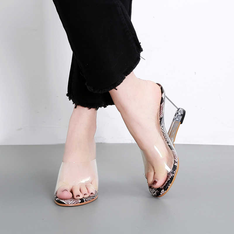 b758e540d5b Woman Clear Wedges Mules Snake Print Slippers Luxury Sandals Transparent  Slides Crystal High Heel Shoe 2019 Summer Zapatos Mujer