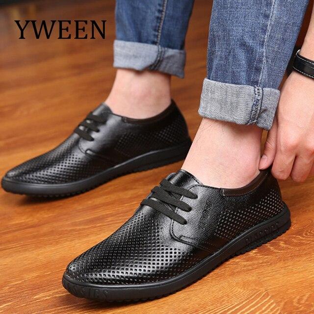 cc6dd15b8842 YWEEN Sommer Atmungsaktive Schuhe Männer Casual Schuhe lace up herren Leder  schuhe Mode Sommer Schuhe MannUS  23.00