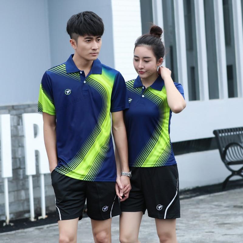 Camisa do Tênis Respirável dos Homens de Alta Camisa de Tênis de Mesa Adsmoney Qualidade Turn-down Collar Badminton Esportes Calções Kit