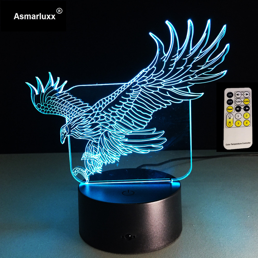 Eagle 3D Night Light 7 Colors RGB Changeable Mood Lamp LED Light DC 5V USB Decorative Table Lamp Remote Or Touch Control Lamp