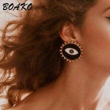 2019 New Fashion Stud Earrings Wedding Party Korean Earrings Vintage Ethnic Enamel Black Evil Eyes Statement Earring Jewelry vintage eyes pentagram earrings