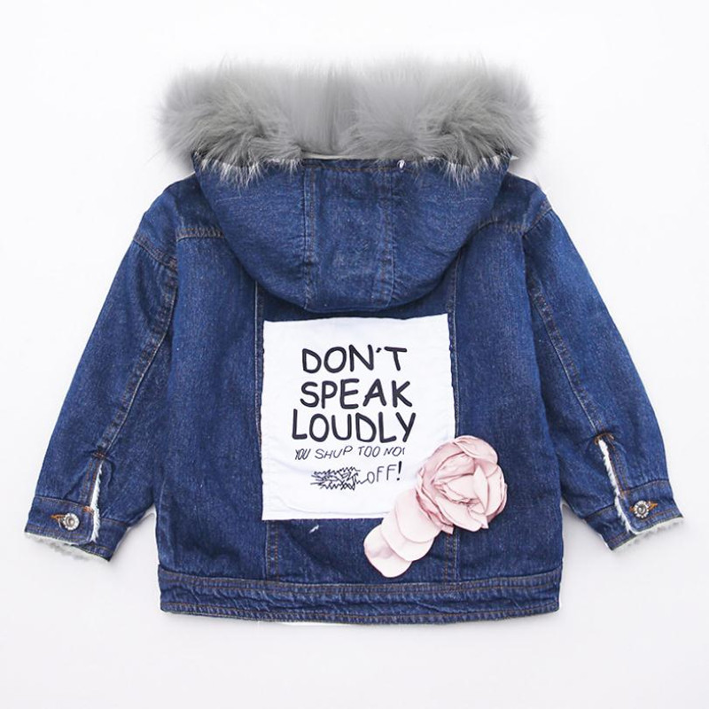 DFXD High Quality Teen Girls Denim Blue Outwear Winter Big Fur Collar Hooded Back Letter Print Flower Thick Warm Coat 4-15Years girls flower and letter print tee
