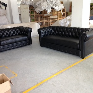 Image 5 - Jixing canapé en t classique en cuir véritable, 2 + 3 places, Style américain, noir, pour salon moderne, de haute qualité