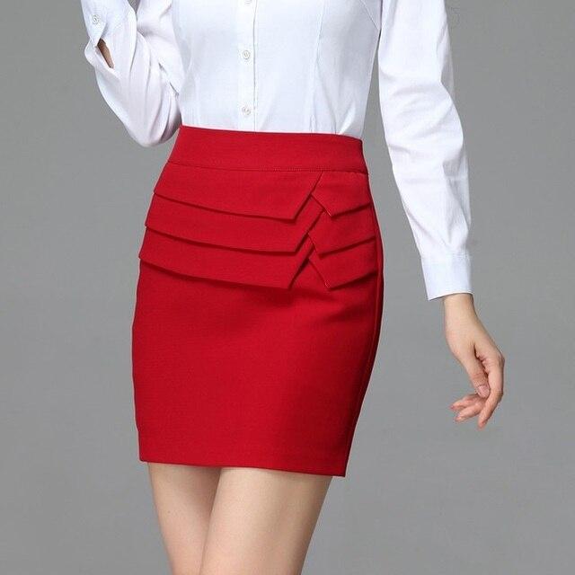 New 2015 Spring Formal Women Mini Skirt Red Work Wear Skinny Slim ...