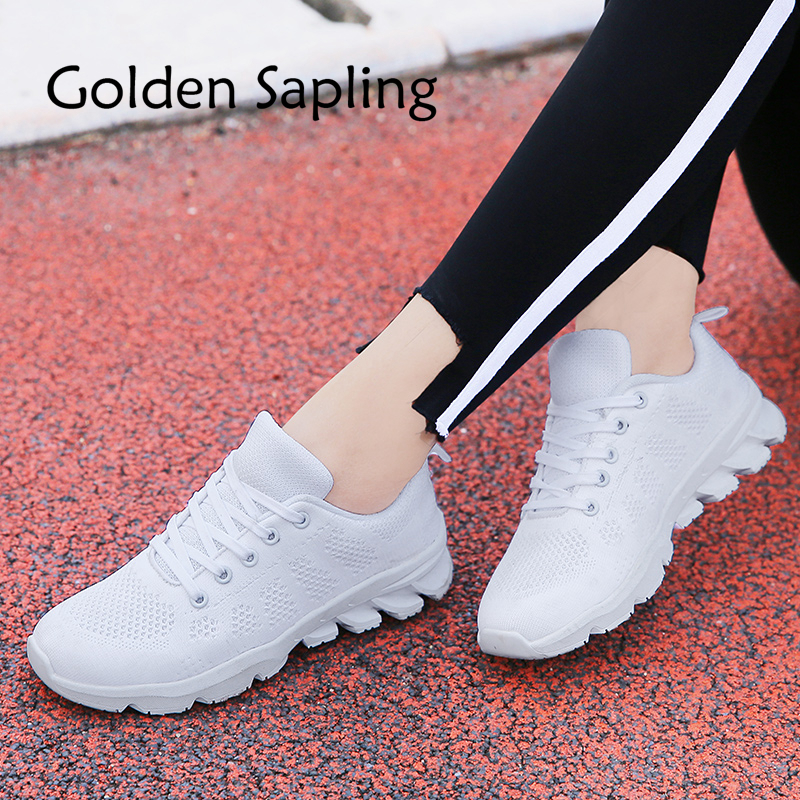 Golden Sapling Womens Sneakers New Spring Running Shoes for Women Sneakers Fabric Air Mesh Breathable White Womens Sport Shoes