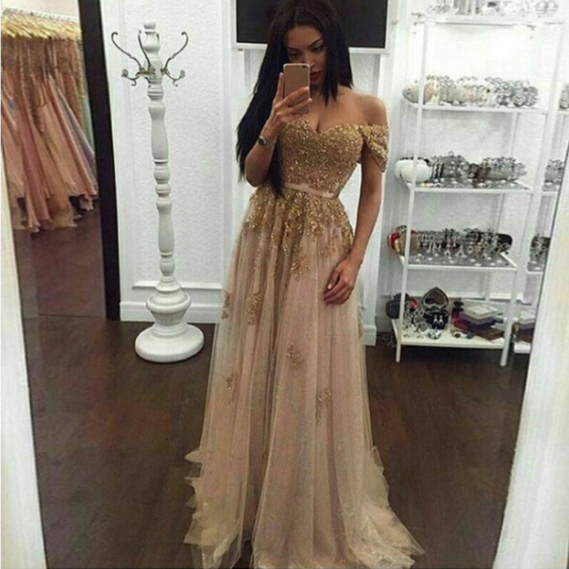 Gold Off The Shoulder Prom Gowns Appliques Beading Tulle