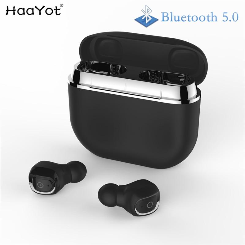 HAAYOT 2019 Bluetooth V5.0 TWS Earphone Wireless Stereo Earbud Waterproof Bluetooth Headset For Phone With 2000Mah Power Case bluetooth wireless earbuds
