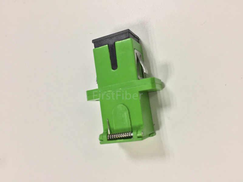 Sc/apc コネクタオートシャッター sidewise ダストキャップシンプレックスグリーンプラスチックハウジングとフランジ sc apc アダプタ