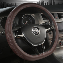 KKYSYELVA D Forma Volante Nero Auto Car Steering Wheel Cover In Pelle 38 CM copertura della ruota accessori Interni