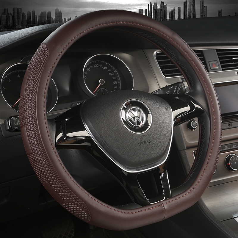 KKYSYELVA D Shape Steering-Wheel Black Auto Car Steering Wheel Cover Leather 38CM wheel cover Interior accessories