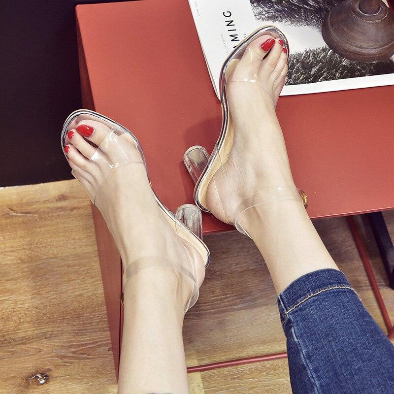 MeiLiKeLin Clear heels Transparen Crystal Sandals Women Shoes Round Heel Womans Waterproof Beach Sandales lady high heels Summer