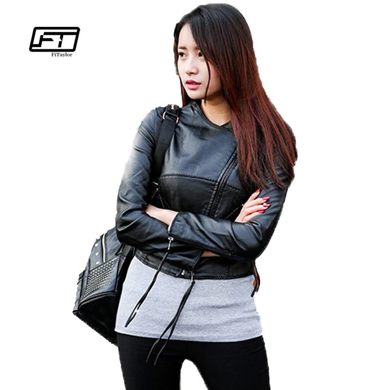 Autumn Winter Women Faux Pu   Leather   Jackets Short Design Slim Punk Fashion Motorcycle Women Black   Leather   Jacket Women