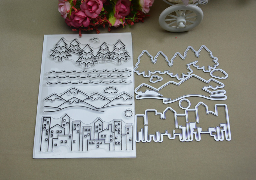 The tree house Transparent clear Stamp and Metal Cutting Die for DIY Scrapbooking / Card Making/Photo Album Decoration