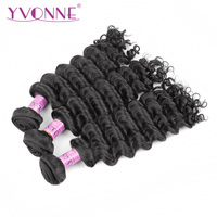 YVONNE Brazilian Deep Wave Virgin Hair 1/3 Piece Natural Color Human Hair Weave Bundles