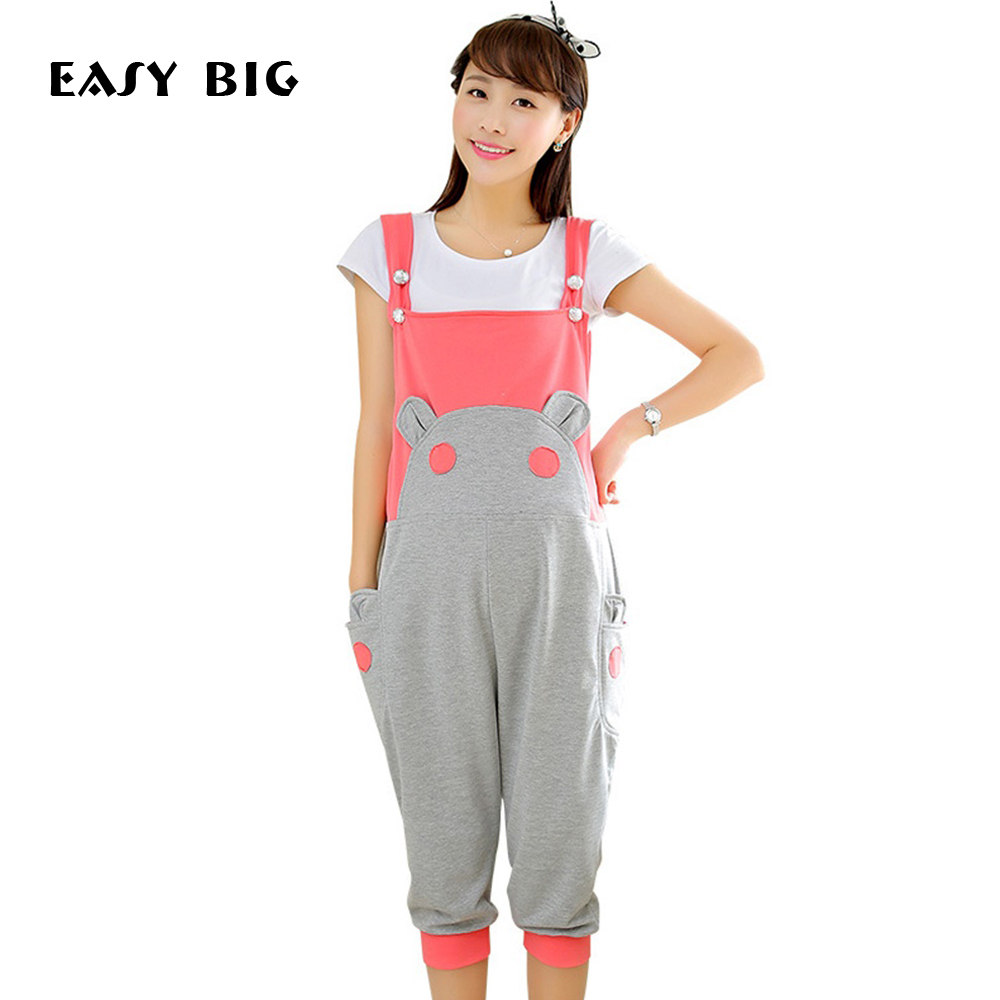 EASY BIG Summer Cotton Casual Maternity Overalls Pants Pregnant Cute Women Maternity Pants Pregnancy Pants Maternity Clothing