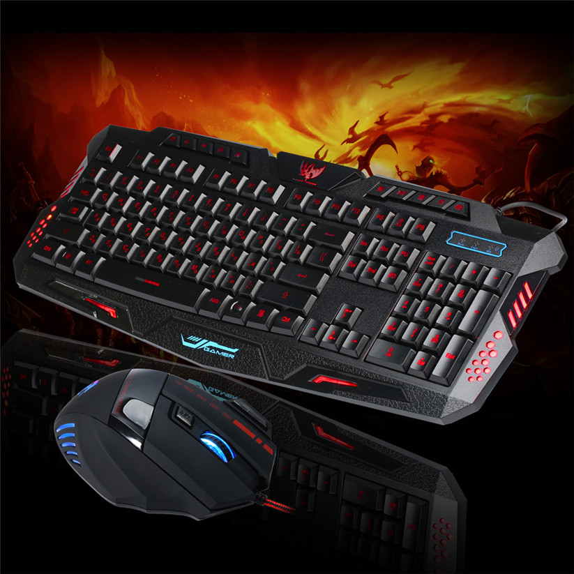 Binmer Keyboards LED Gaming wire 2.4G keyboard and 5500DPI Mouse Set to Computer Multimedia Gamer td0124 Dropship binmer keyboards m938 led backlit usb ergonomic gaming keyboard gamer mouse sets mouse pad td0110 dropship