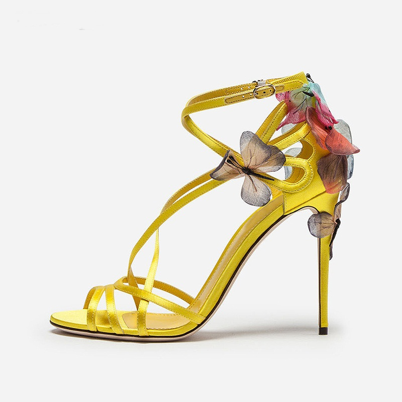 Handmade Open Toe Silk Strappy Gladiator Sandals Women Embroidery Butterfly Yellow Blue Black Heeled Wedding Dress Shoes