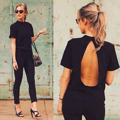 2016 nieuwe Leuke Vrouwen Blouse 2016 Fashion black Open Back Sexy tops korte Mouw Vrouwen Zomer Kleding