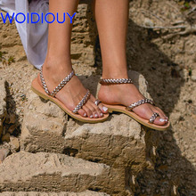 Women Sandals Greek Silver Braid Gold Gladiator Slides Summer Flat Casual Shoes Female Beach