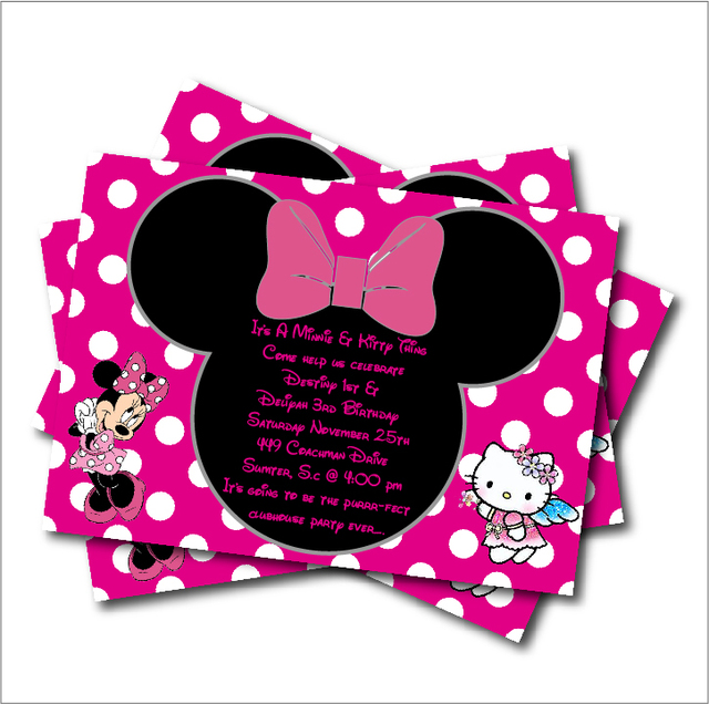 20 Pcs/lot Minnie Mouse U0026 Kitty Girls Birthday Party Invitation Minnie  Mouse Baby Shower