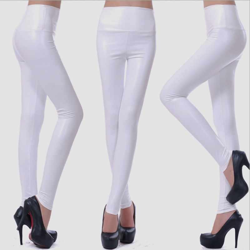 Mulheres PU Calças de Couro de Alta Cintura Elástica Leggings Não Rachar Perneiras De Couro Calças De Lã Das Mulheres Fino Moda F80