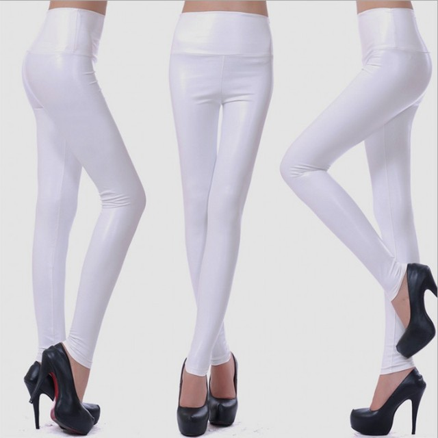 Womens PU Leather Pants High Elastic Waist Leggings Not Crack Slim Leather Leggings Fleece Trousers Women Fashion F80 44