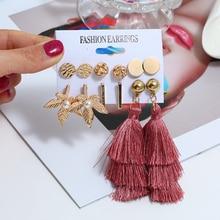 Gold Color Long Tassel Earrings Set Fashion Round Leaf For Women Ear Jewelry Gift
