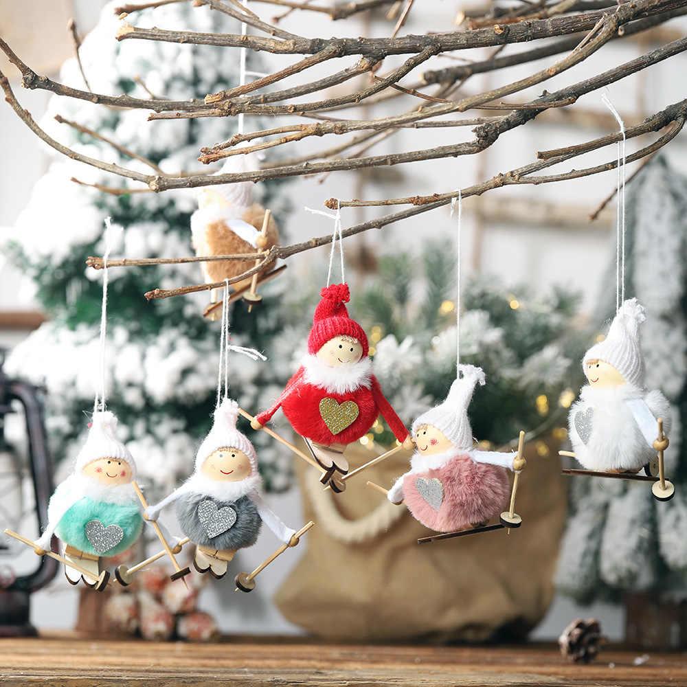 لطيف سانتا كلوز القوس جرس شجرة عيد الميلاد زخرفة الديكور خشبية ثلج الأيائل معلقة قلادة زينة عيد الميلاد للمنزل