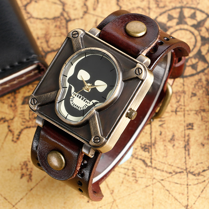2017 Vintage Cool Punk Rock Skull Skeleton Quartz Watch Fahion Casual Wristwatches Soft Leather Bracelet Mens Women Gifts B2181