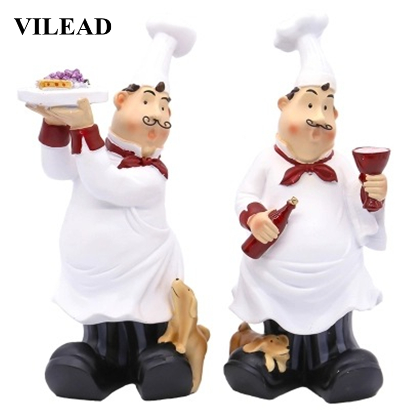 Vilead 26cm Resin Tray Glass Chef Figurines Europe Creative