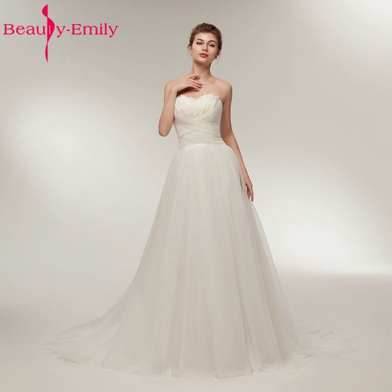 Beauty Emily White Simple A Line Strapless Wedding Dresses