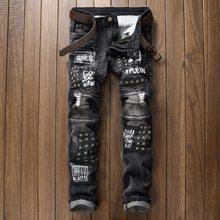 2020 remendo jeans masculino magro casual algodão clássico rasgado denim para homem em linha reta magro ajuste plus size rvaet rap harajuku biker jean