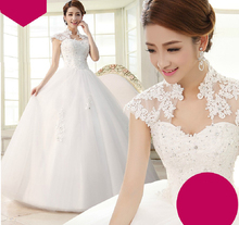 Long Ball Gown Wedding Dresses With Lace Appliques Bridal Gown Size 2-16 Cheap Dress Custom Made Plus Size Need Extra Fees