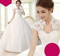 Longo vestido de Baile Vestidos de Casamento Com Rendas Apliques vestido de Noiva tamanho 2-16 Barato Vestido Feito Sob Medida Plus Size Precisa Extra taxas