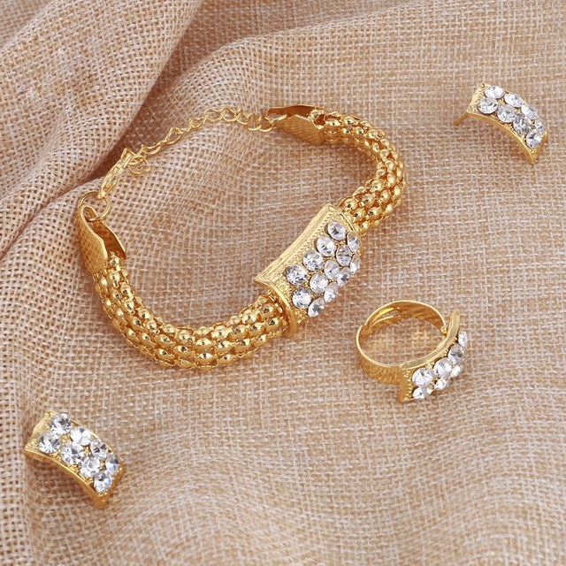 Amazing Price Wedding Gold Jewelry Sets For Women Pendant Statement African Beads Crystal Necklace Earrings Bracelet Rings 5
