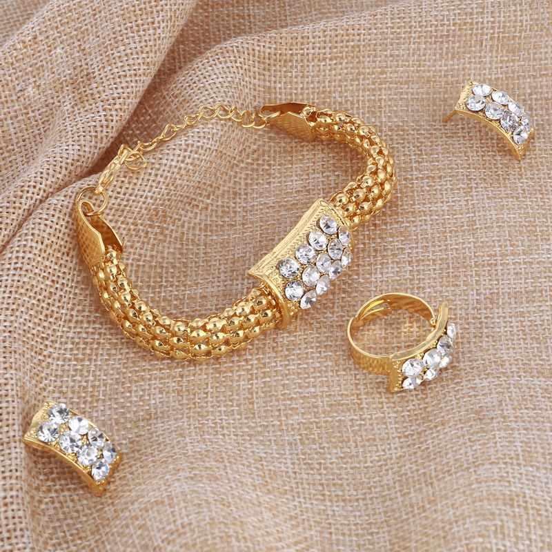 Incredibile Prezzo Da Sposa Set di Gioielli In Oro Per Le Donne Del Pendente Dichiarazione Africano Perline di Cristallo Degli Orecchini Della Collana Del Braccialetto Anelli