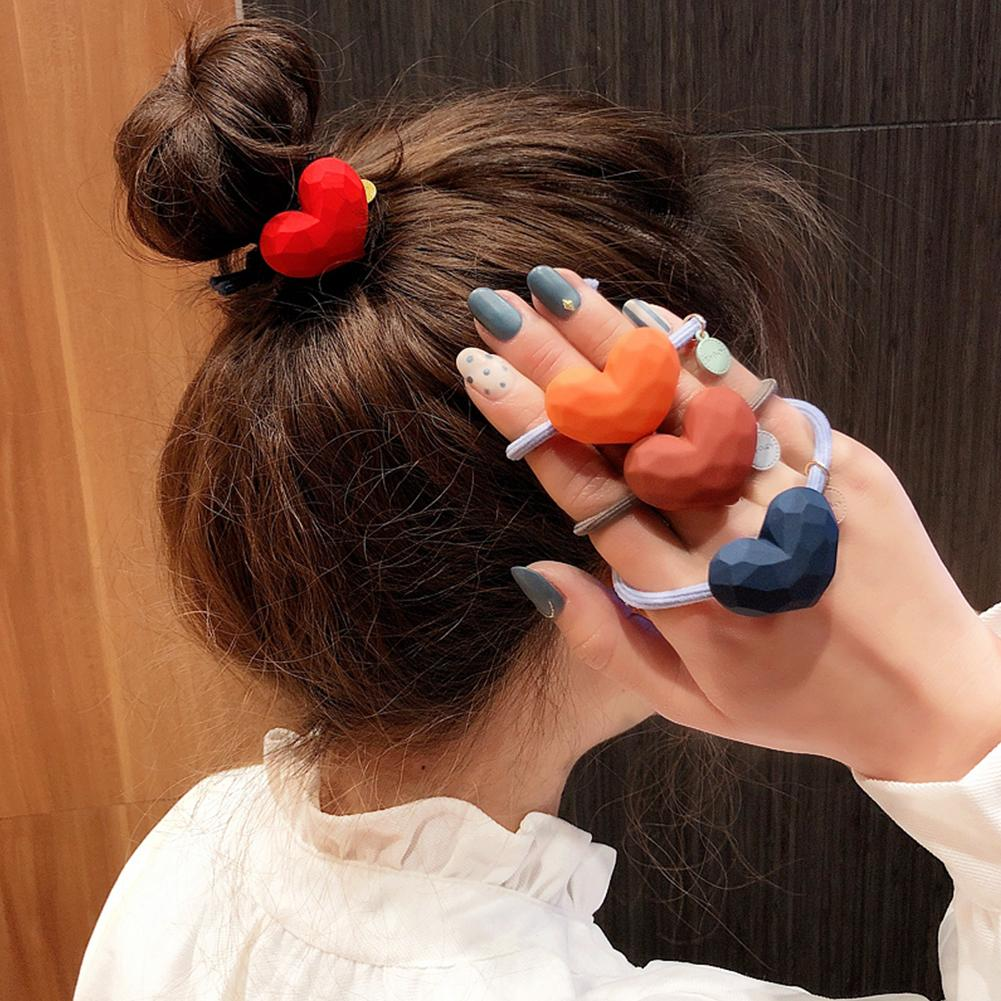 Girls Sweet Heart Knotted Hair Ring Rope Women Bands Elastic Ponytail Holder Hairbands Scrunchies Headwear Accessories