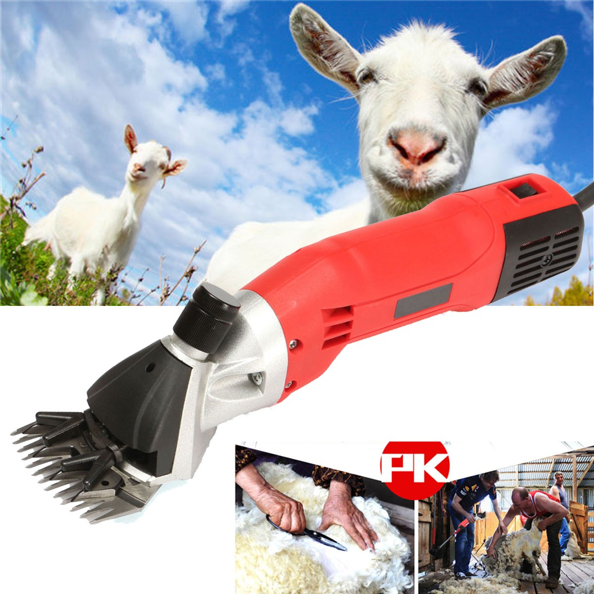 500W 220V AC Electric Sheep Goats Shearing Clipper Shear Alpaca Farm Shears Tool Aluminum Power Scissors new 680w sheep wool clipper electric sheep goats shearing clipper shears 1 set 13 straight tooth blade comb