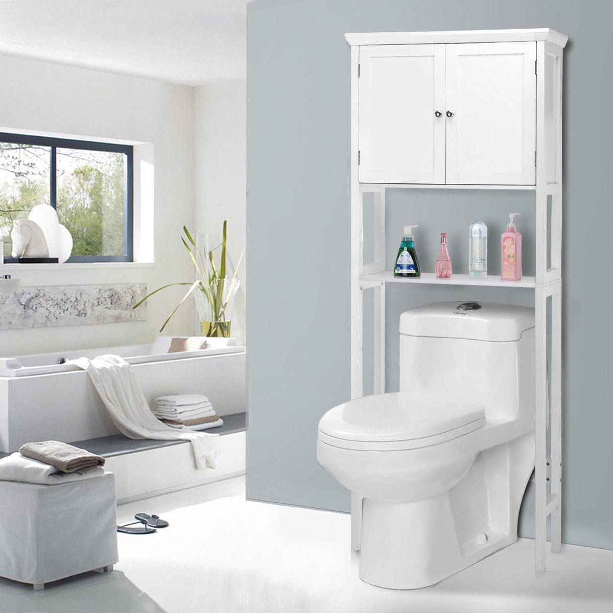 Géantex Toilette Économiseur D'espace De Stockage Porte-Serviettes Étagère armoire de toilette moderne Meubles de Maison HW57023