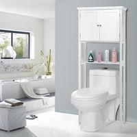 Giantex Toilet Storage Space Saver Towel Rack Shelf Modern Bathroom Cabinet Home Furniture HW57023