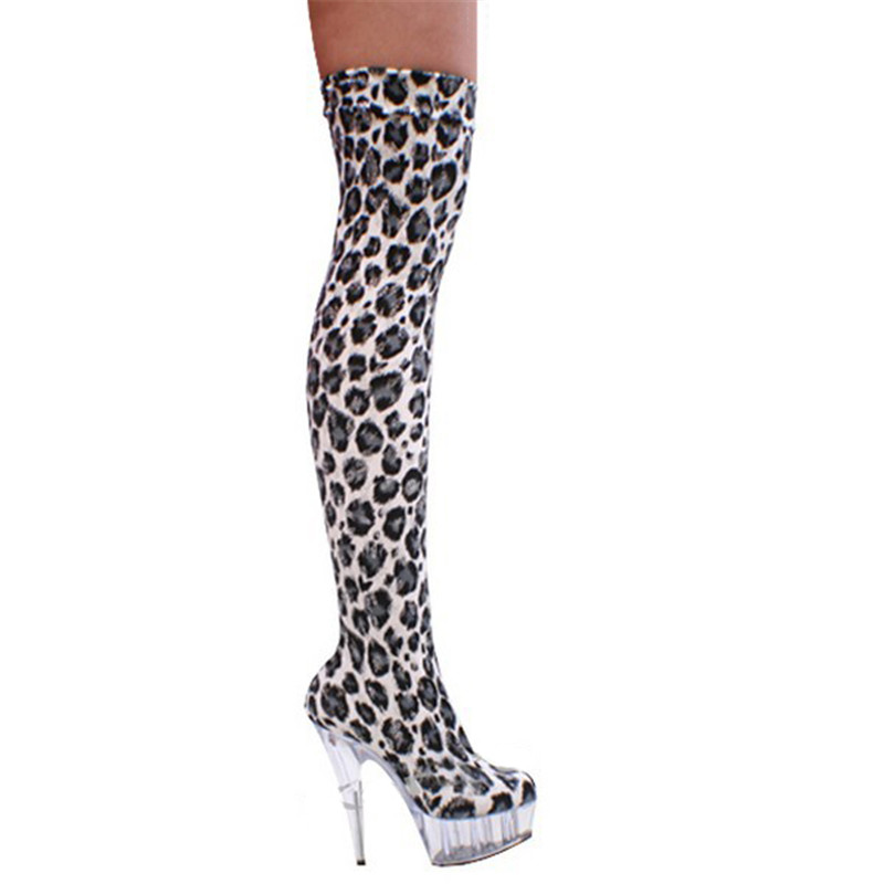 c596681bd8a Fashion 15cm Leopard Print Leather Sexy High Heels 6 Inch Platform Women  Over Knee Thigh High Boots Sexy Boots-in Over-the-Knee Boots from Shoes on  ...